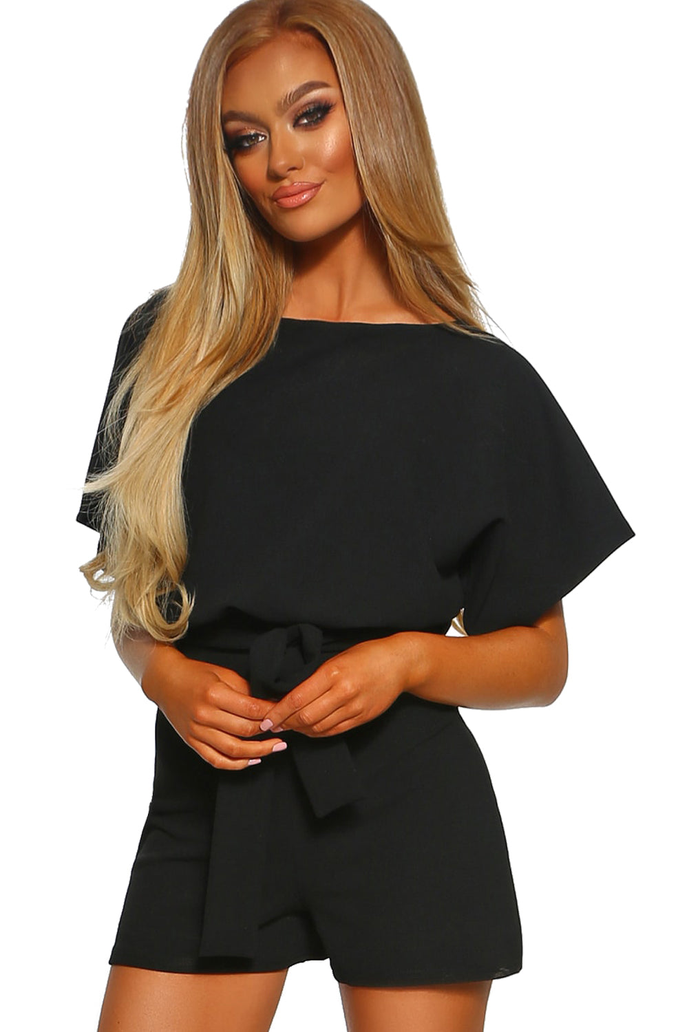 Black Over The Top Belted Playsuit LAVELIQ