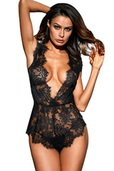 Black Plunging Eyelash Lace Teddy Lingerie LAVELIQ