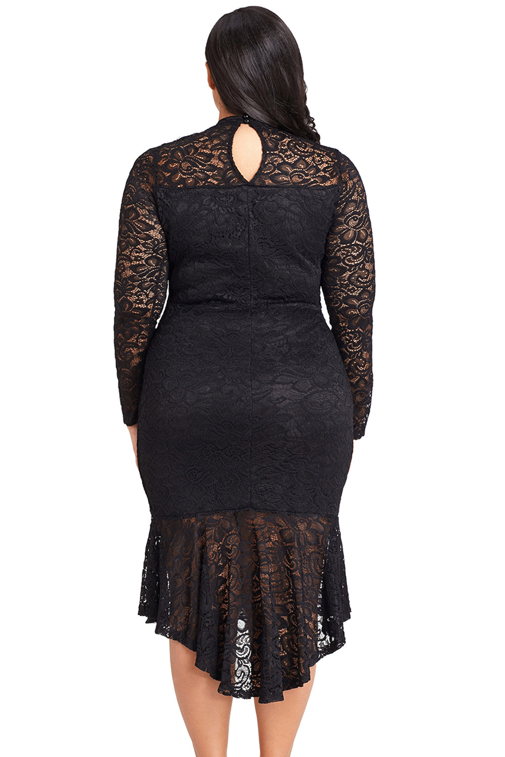 Black Plus Size Floral Lace Hi-Lo Mermaid Dress LAVELIQ - Laveliqus
