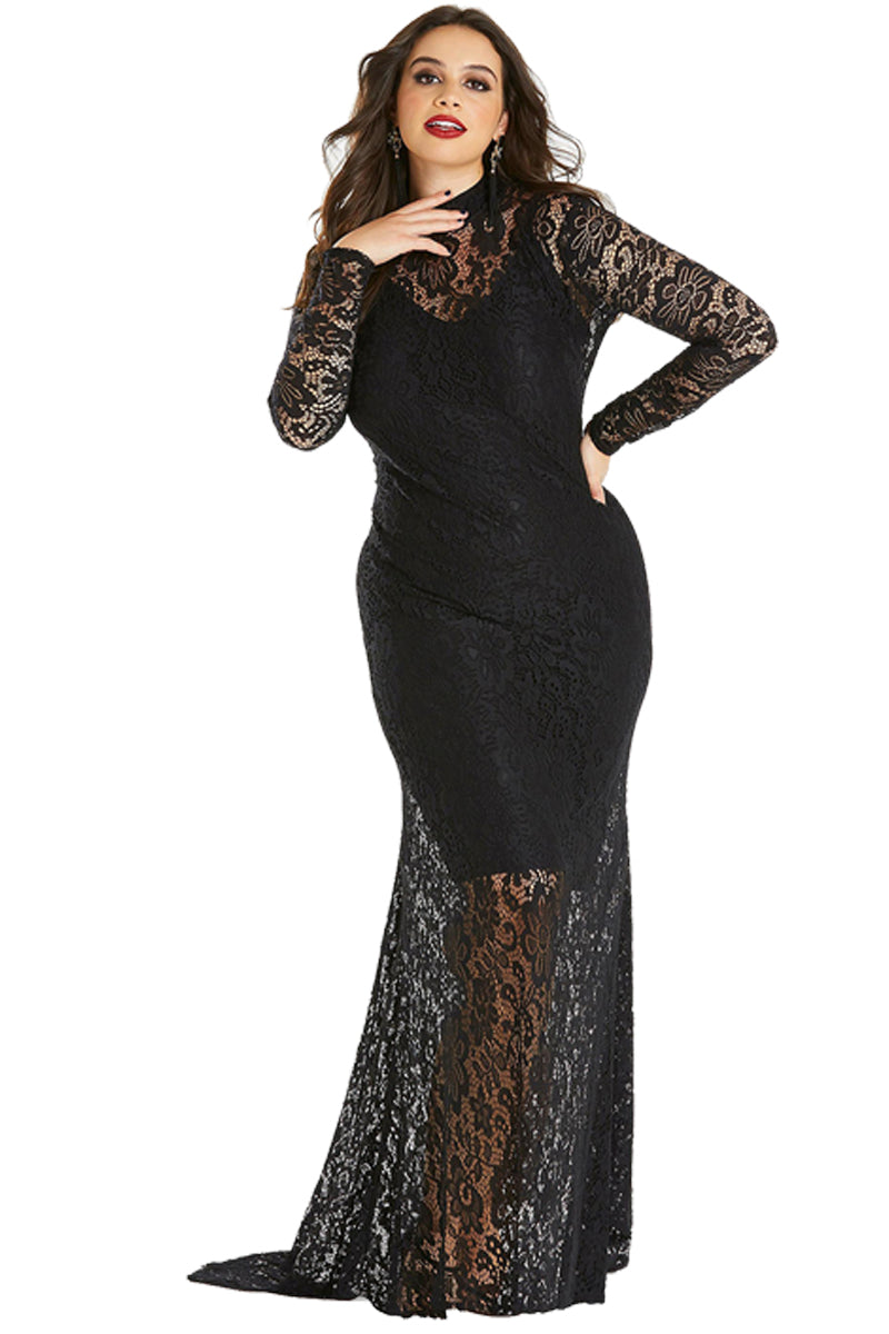 Black Plus Size High Neck Lace Fishtail Maxi Dress LAVELIQ e88245bae