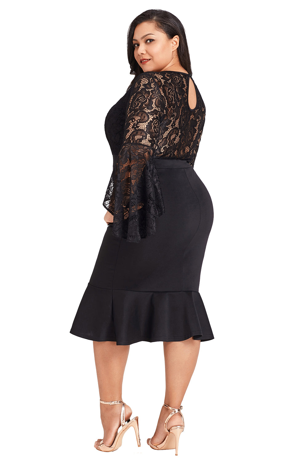 Black Plus Size Lace Bell Sleeve Mermaid Bodycon Dress LAVELIQ - Laveliqus