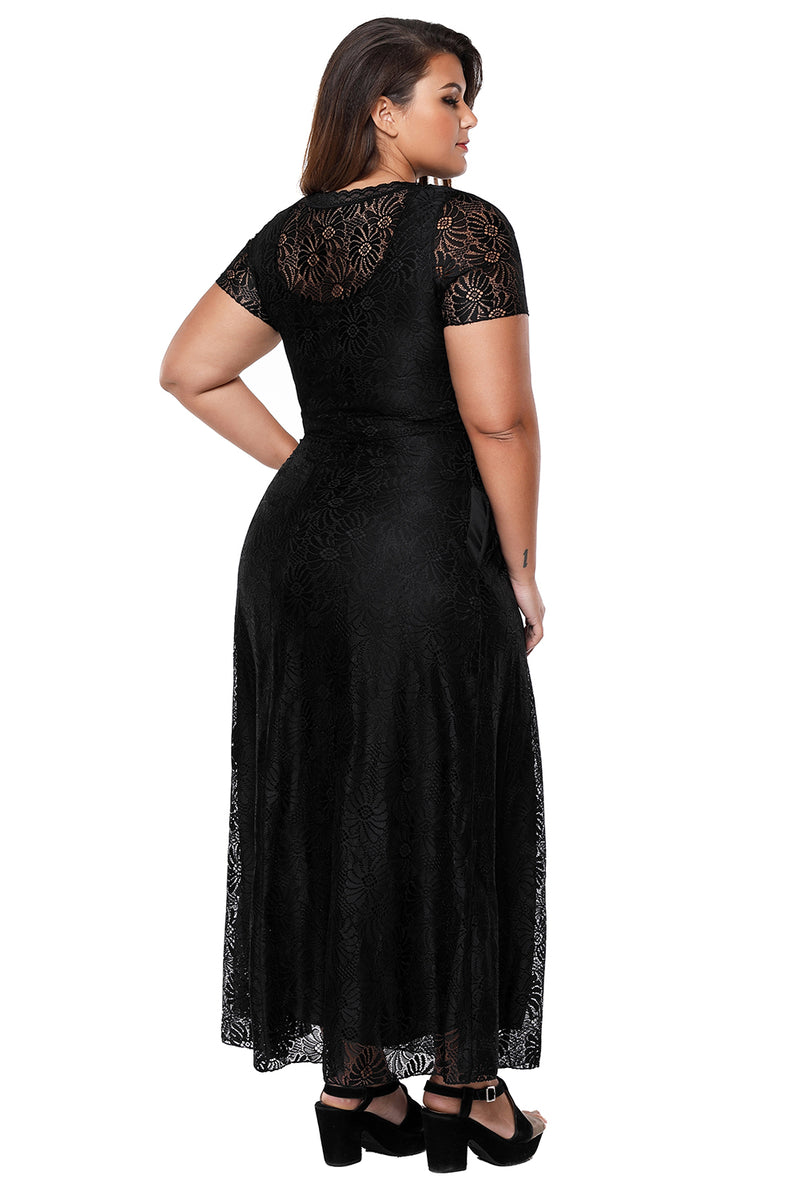 Black Plus Size Lace Party Gown LAVELIQ - Laveliqus