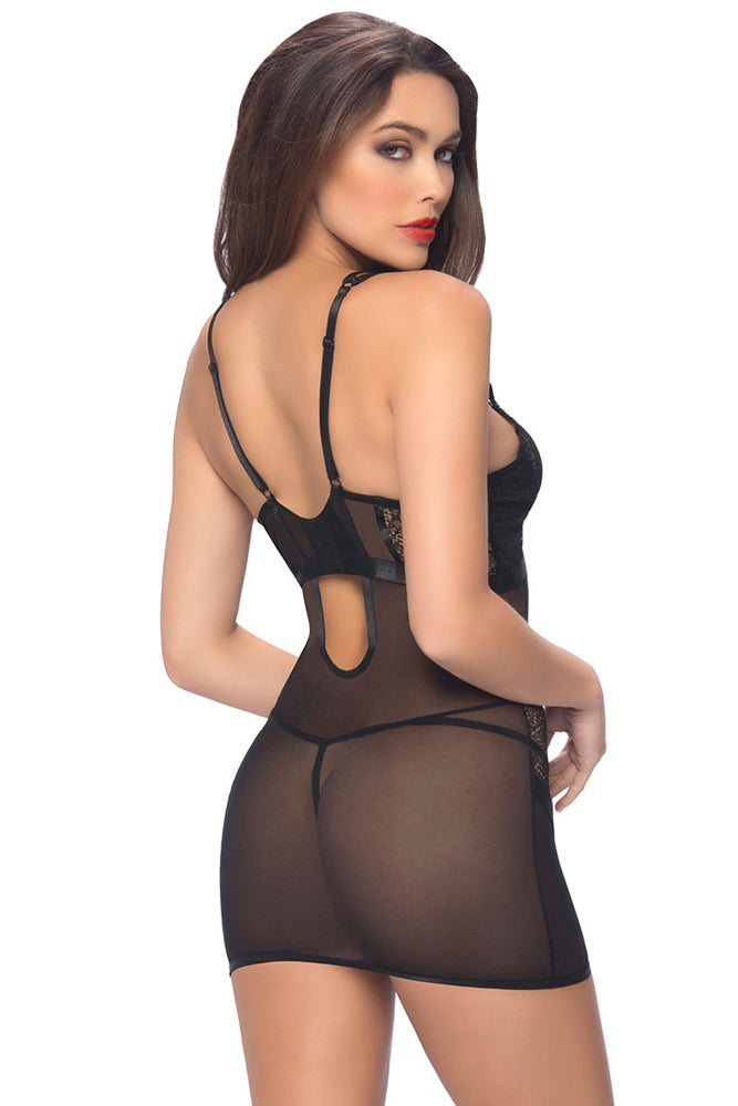Black Satin And Net Chemise With Thong Lingerie LAVELIQ - Laveliqus