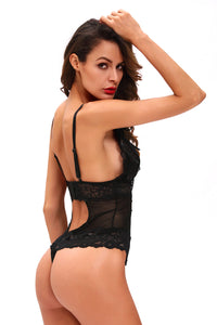 Black Scalloped Lace Accent Peek-A-Boo Teddy Lingerie LAVELIQ