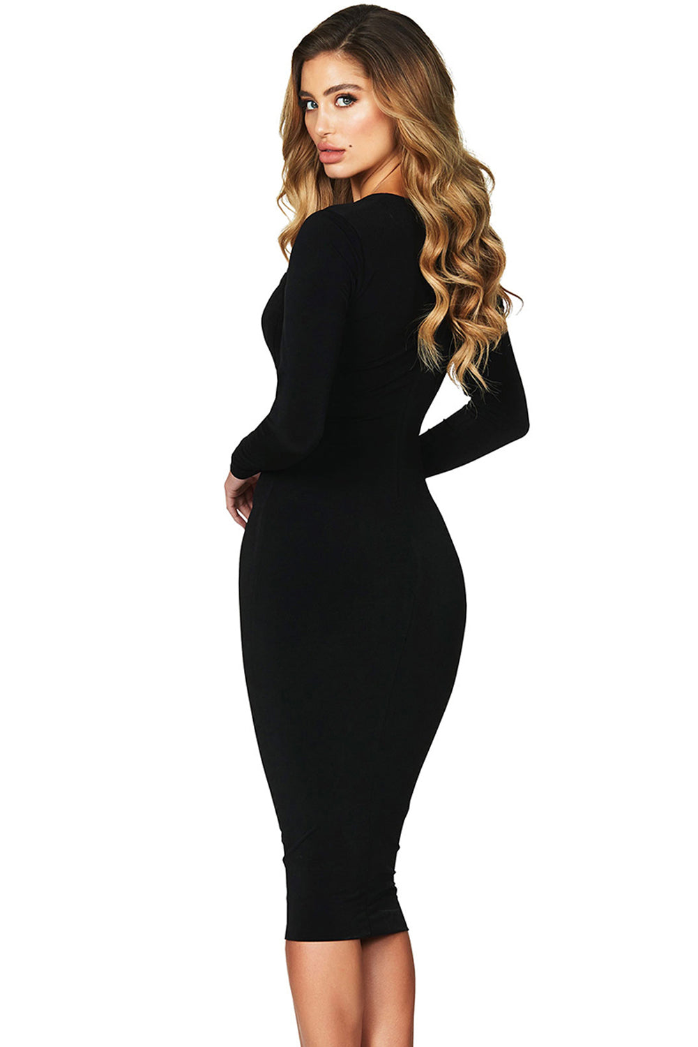 Black Sexy Flirt Long Sleeve Midi Dress LAVELIQ d82262dee