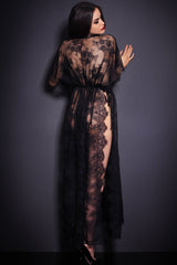 Black Sheer Lace Kaftan Robe With Thong Lingerie LAVELIQ
