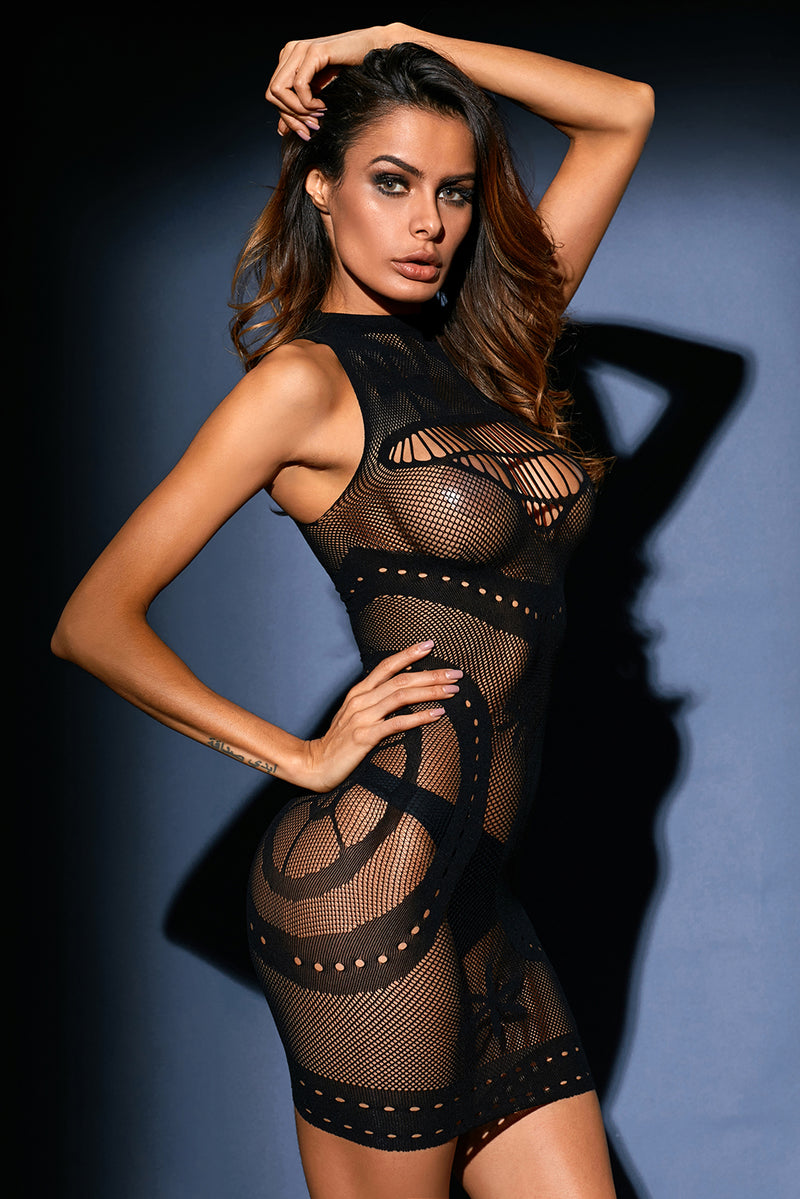 Black Sleeveless Sheer Mesh Lingerie Dress LAVELIQ - Laveliqus