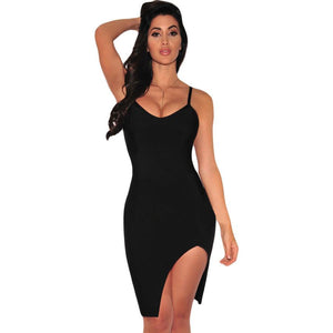 Black Slit Bandage Dress LAVELIQ  - LAVELIQ - 1