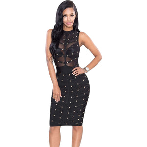 Knee-Length Black Sleeveless Bandage Dress LAVELIQ  - LAVELIQ - 1