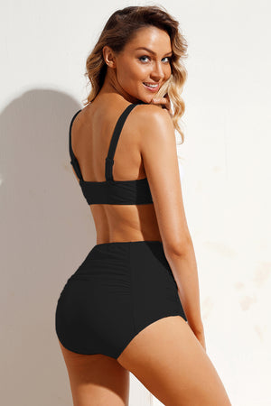 Black Tie Front Bikini Ruched High Waist Swimsuit LAVELIQ - Laveliqus