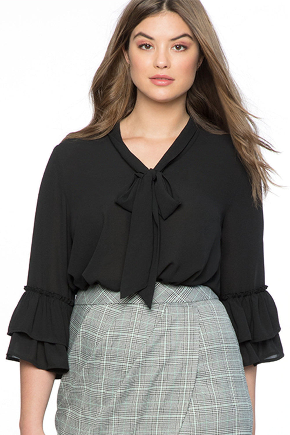 Black Tie Neck Ruffle Sleeved Plus Size Blouse LAVELIQ - Laveliqus