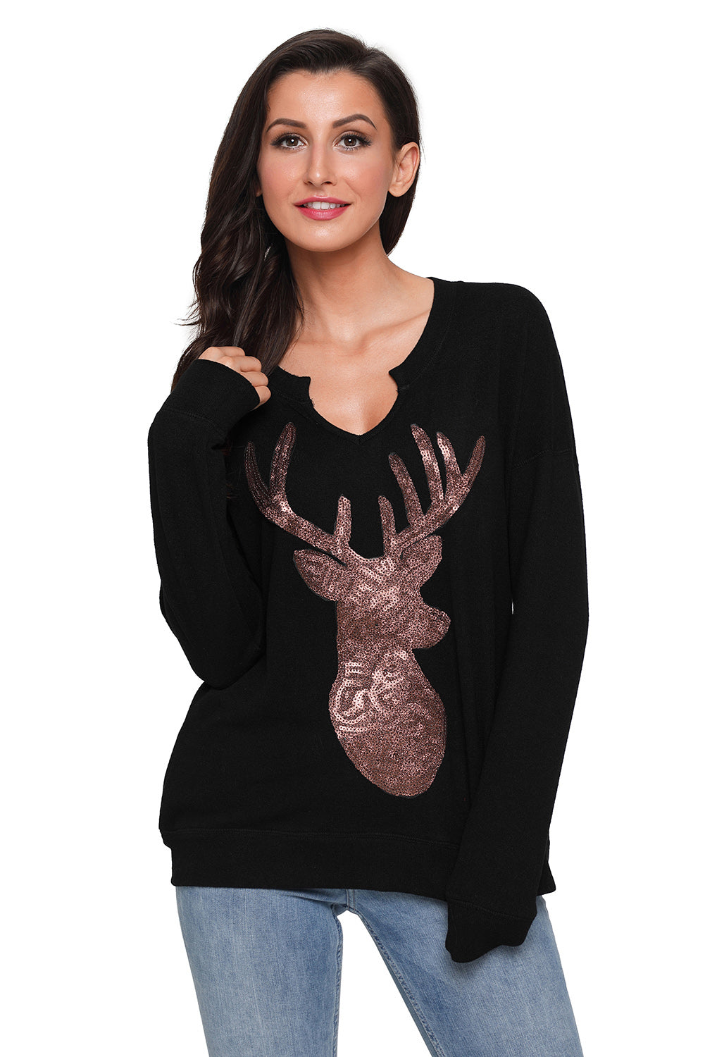 Black Women'S Sequin Christmas Reindeer Top LAVELIQ