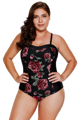 Blooming Rose Print Hourglass One Piece Swimsuit LAVELIQ - Laveliqus