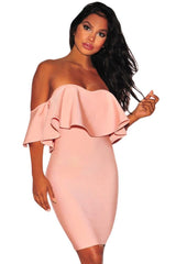 Blush Pink Ruffle Off Shoulder Bandage Dress LAVELIQ - Laveliqus
