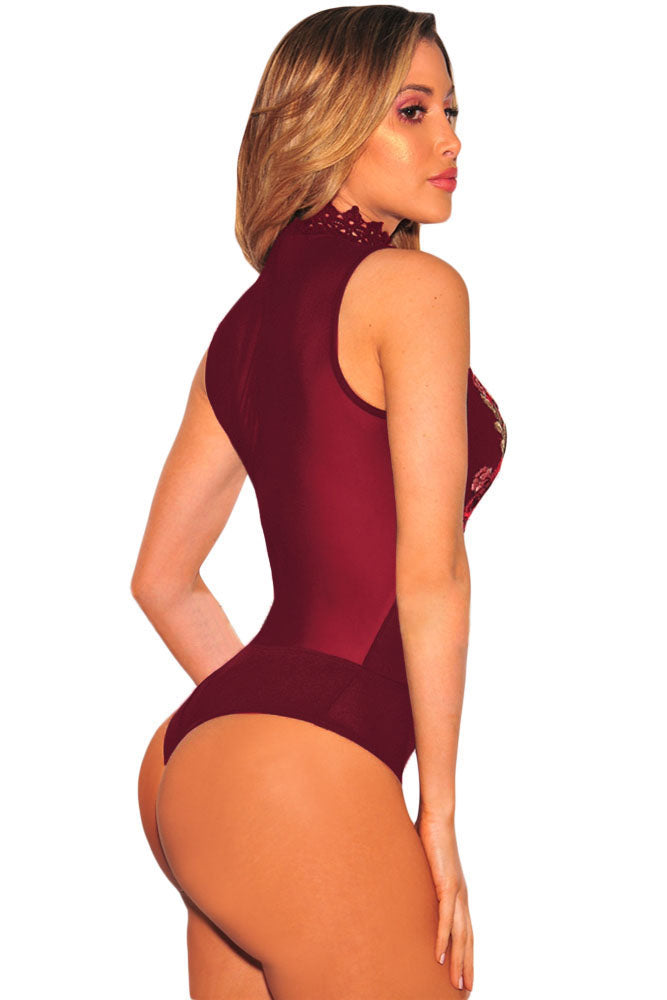 Burgundy Embroidered Rose Choker Bodysuit Lingerie LAVELIQ