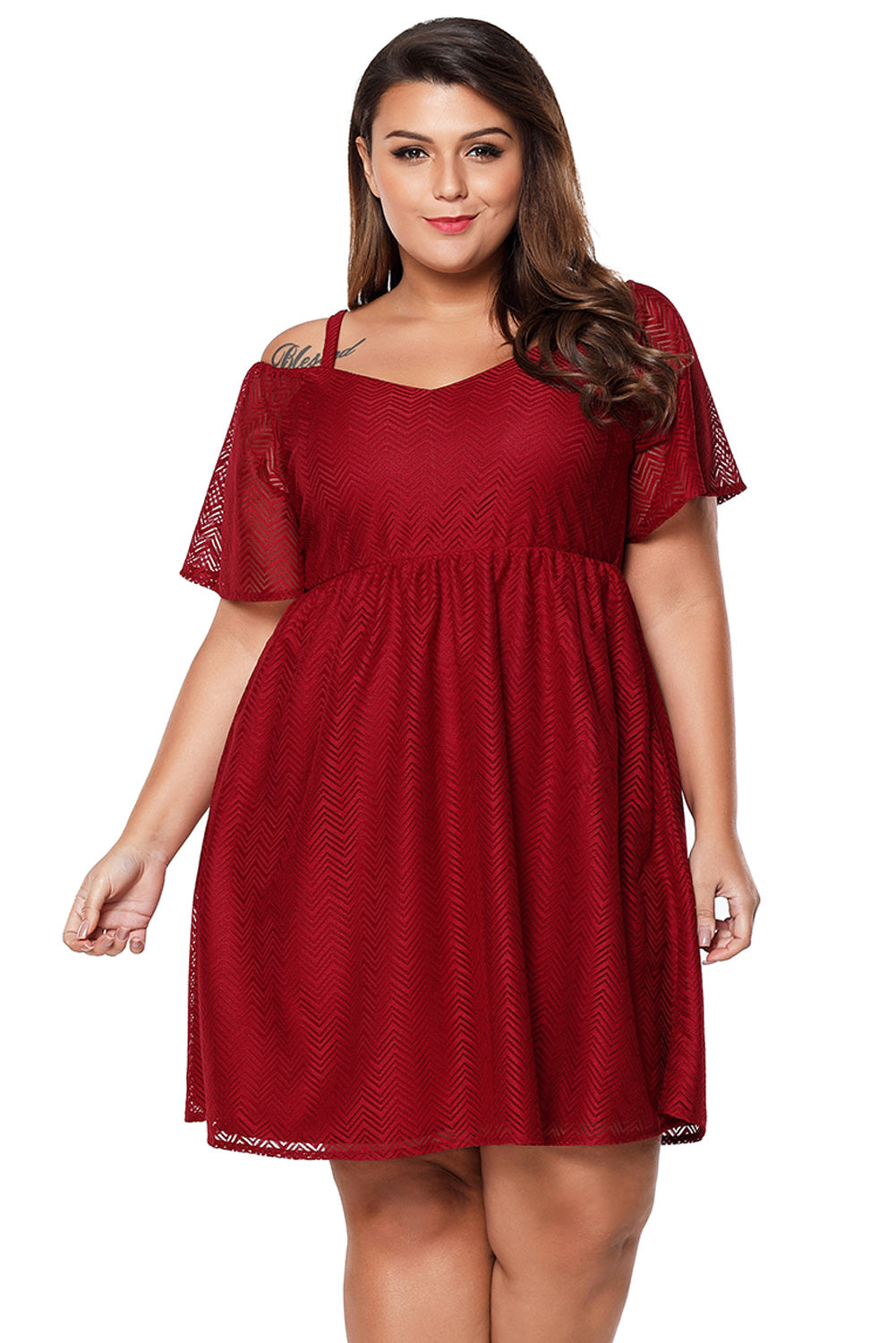 Burgundy Textured Chiffon Cold Shoulder Plus Size Skater Dress LAVELIQ - Laveliqus