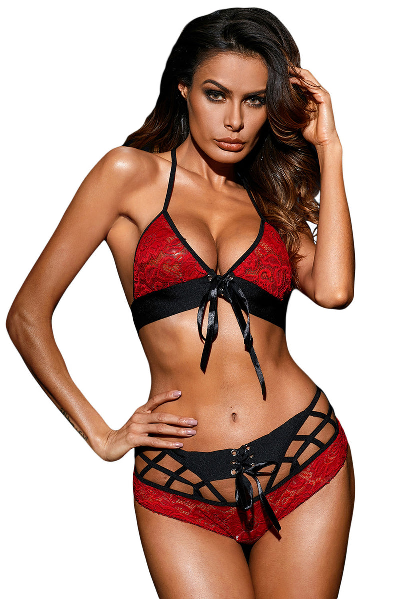 Cherry Red Braletts Lace Bra And Boyshort Set Lingerie LAVELIQ - Laveliqus