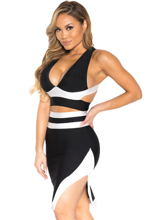 Classic Black White Bandage Cocktail Party Skirt Set LAVELIQ - Laveliqus