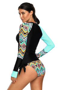 Contrast Blue Detail Long Sleeve Tankini Swimsuit LAVELIQ - Laveliqus