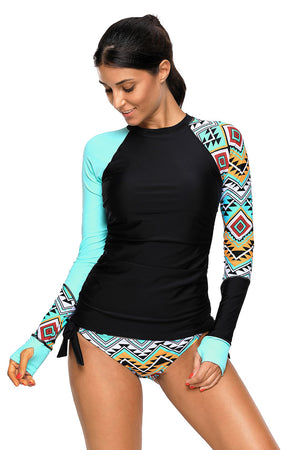Contrast Blue Detail Long Sleeve Tankini Swimsuit LAVELIQ