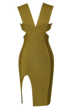 Cut Out Detail Olive Green Bandage Dress LAVELIQ - Laveliqus