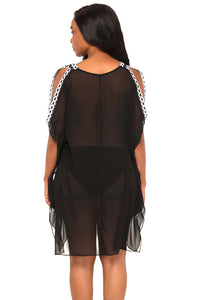 Delicate Embroidery Black Cold Shoulder Sheer Mesh Cover Up LAVELIQ - Laveliqus
