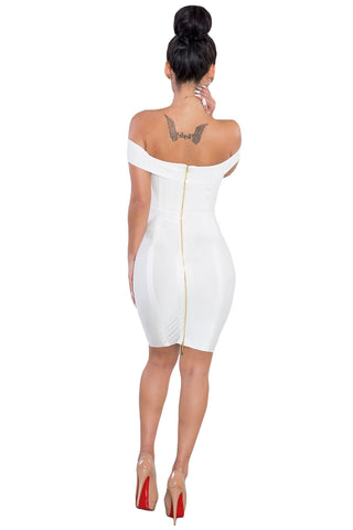 Gold Chain Crisscross Lace Up White Bandage Dress LAVELIQ