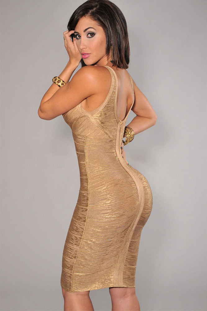 Gold V-Neck Foil Detail Crisscross Bandage Dress LAVELIQ - Laveliqus