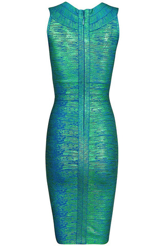 Green Gold Foil Midi Luxe Bandage Dress LAVELIQ