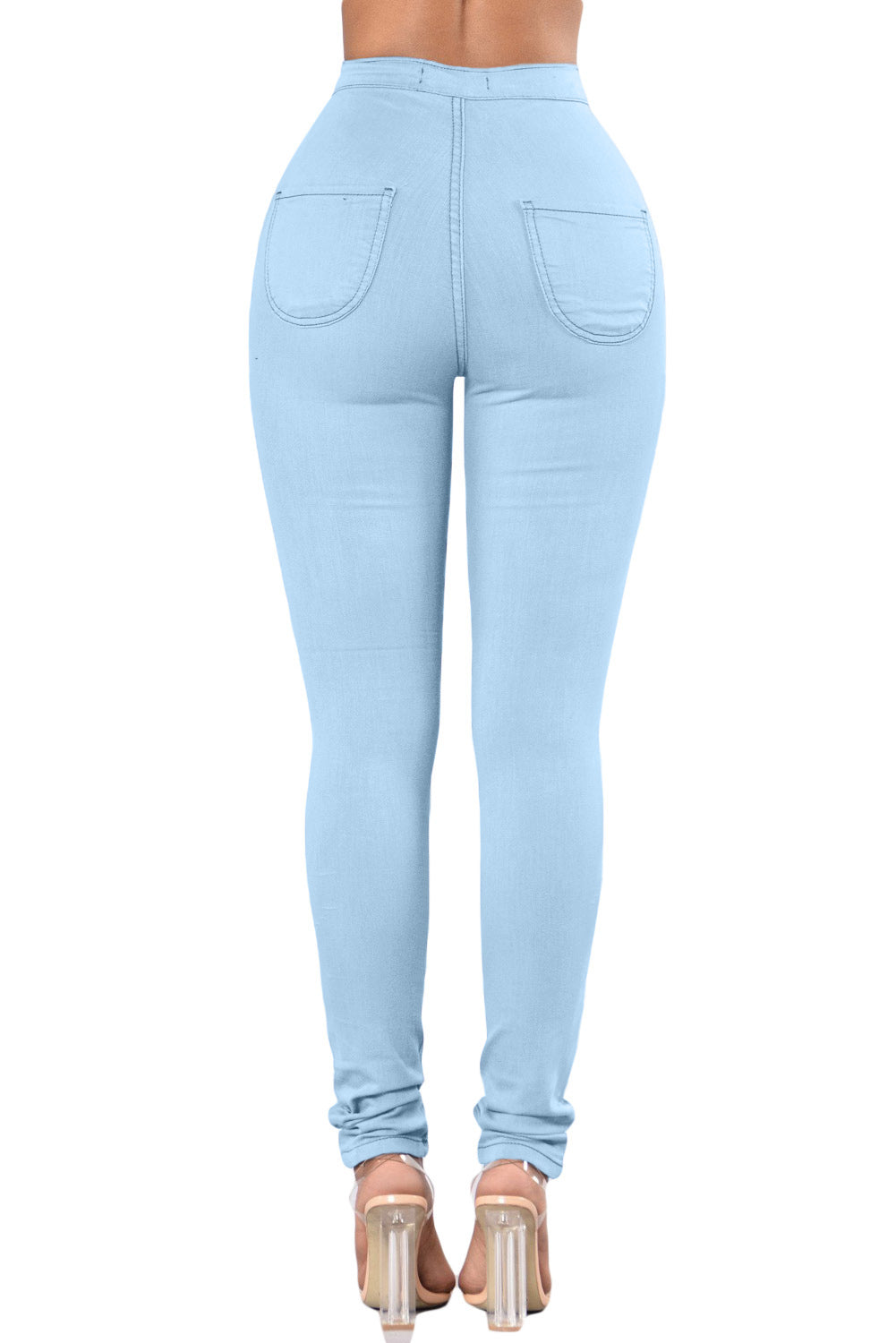 Light Blue High Waist Skinny Jeans With Round Pockets LAVELIQ