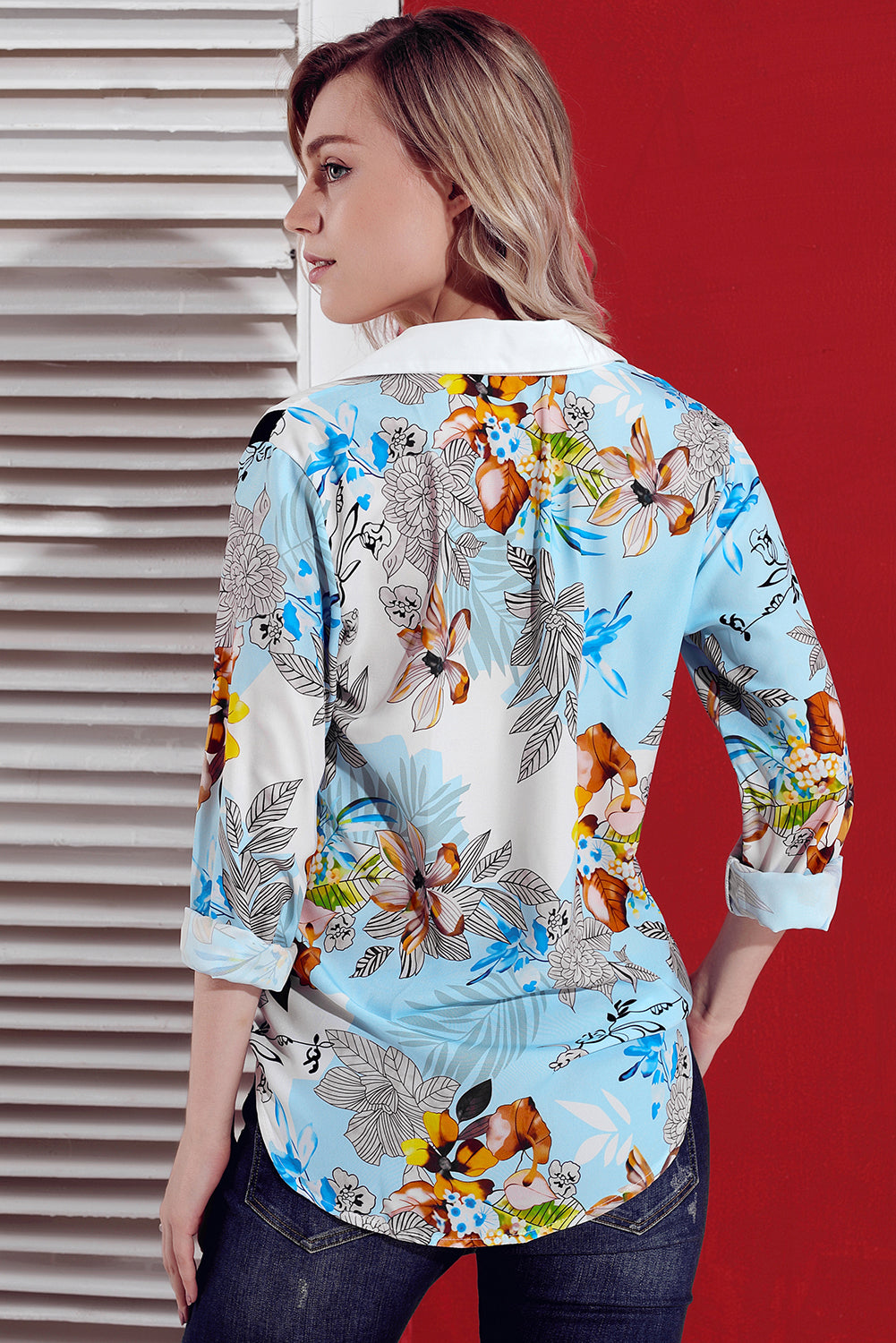 Multicolor Long Sleeve Floral Print Button Front Shirt LAVELIQ - Laveliqus