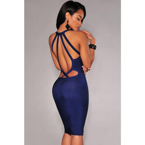 Navy Blue Strappy Bandage Dress LAVELIQ Clearance