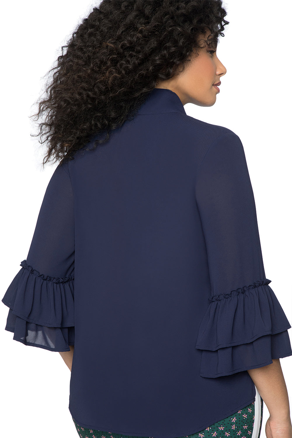 Navy Blue Tie Neck Ruffle Sleeved Plus Size Blouse LAVELIQ