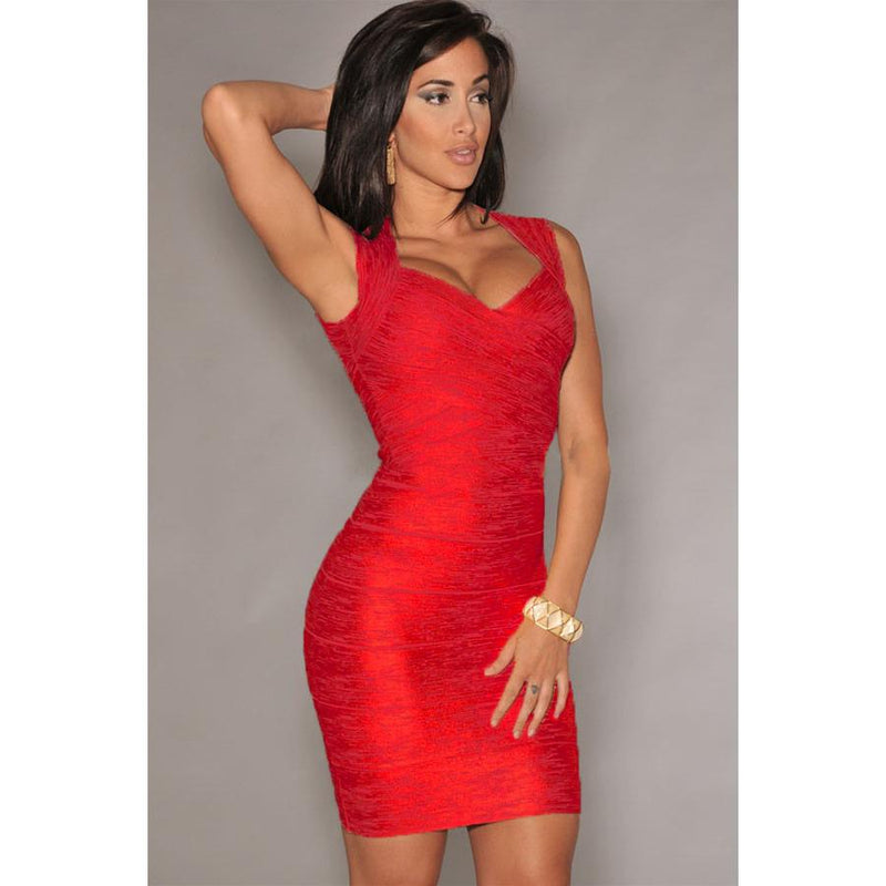 Red Foil Print Bandage Dress LAVELIQ  - LAVELIQ - 1