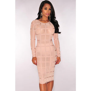 Nude Bandage Panty Lined Dress LAVELIQ  - LAVELIQ - 1