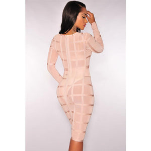 Nude Bandage Panty Lined Dress LAVELIQ  - LAVELIQ - 2