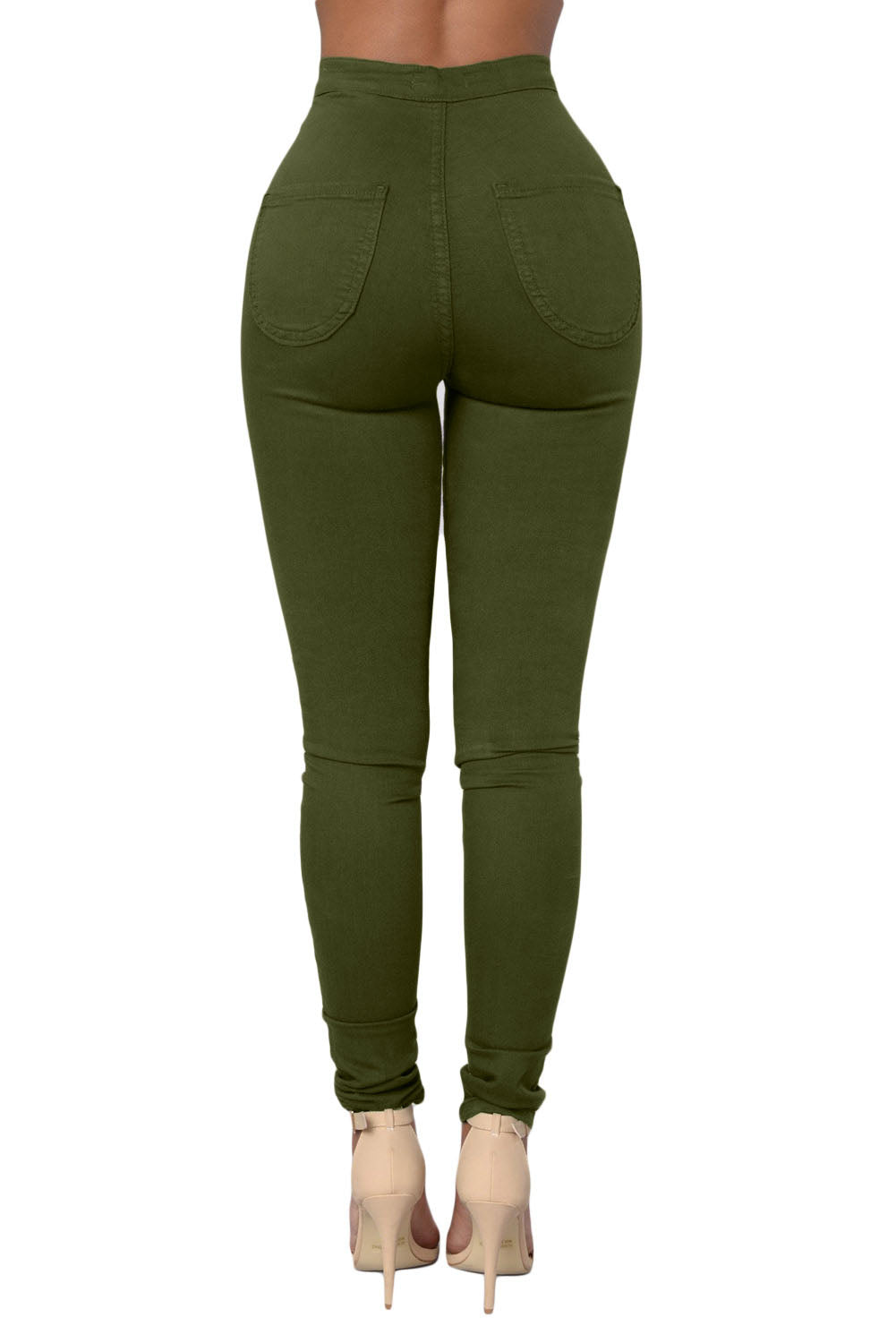 Olive High Waisted Skinny Jeans With Round Pockets LAVELIQ
