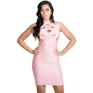 Pink Cutout Bandage Dress LAVELIQ - Laveliqus