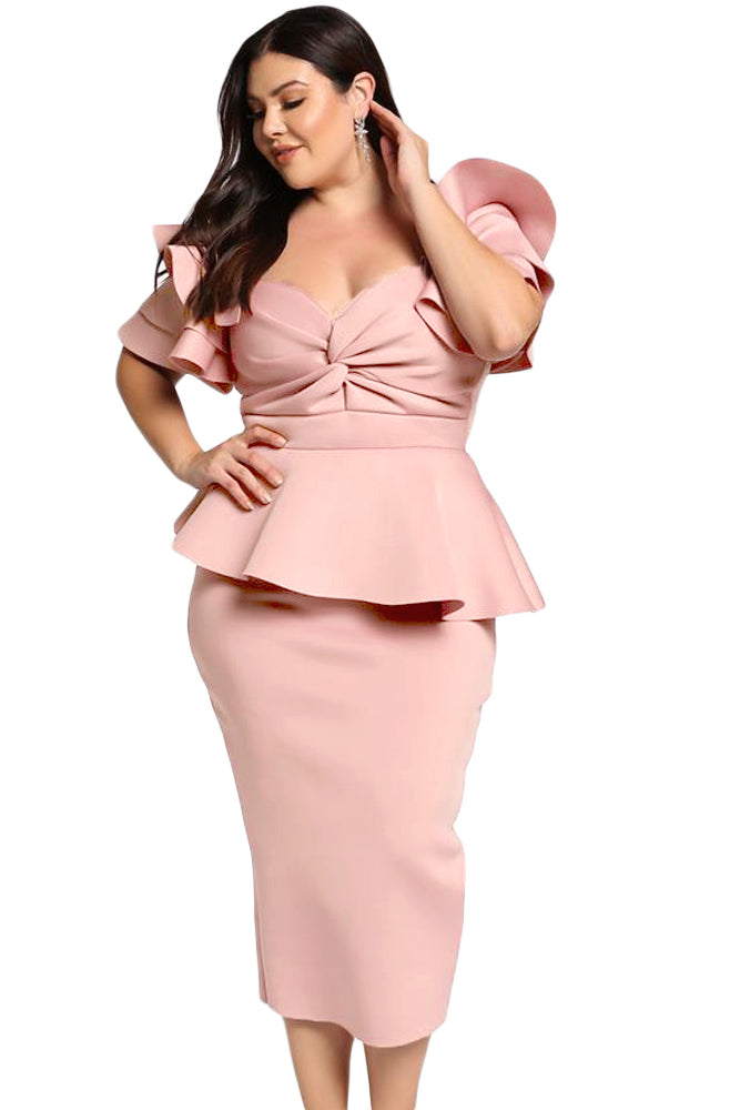 Pink Plus Size Tiered Sleeve Twisted Peplum Dress LAVELIQ