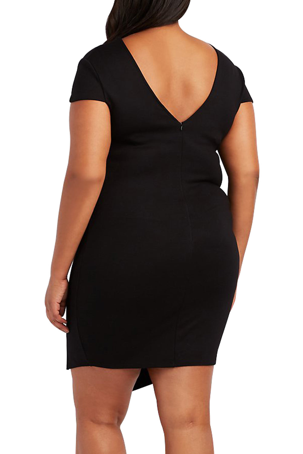 Plus Size Black Strappy Asymmetrical Bodycon Dress LAVELIQ - Laveliqus