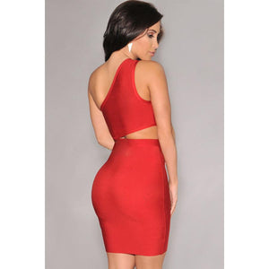 Red One-Shoulder Bandage Dress LAVELIQ  - LAVELIQ - 2