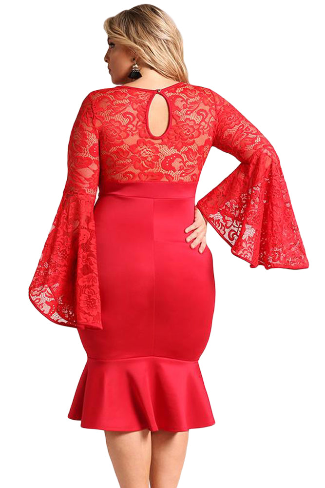 Red Plus Size Lace Bell Sleeve Mermaid Bodycon Dress LAVELIQ - Laveliqus