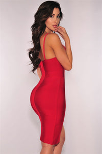 Red Slit Thigh Bandage Dress LAVELIQ - Laveliqus