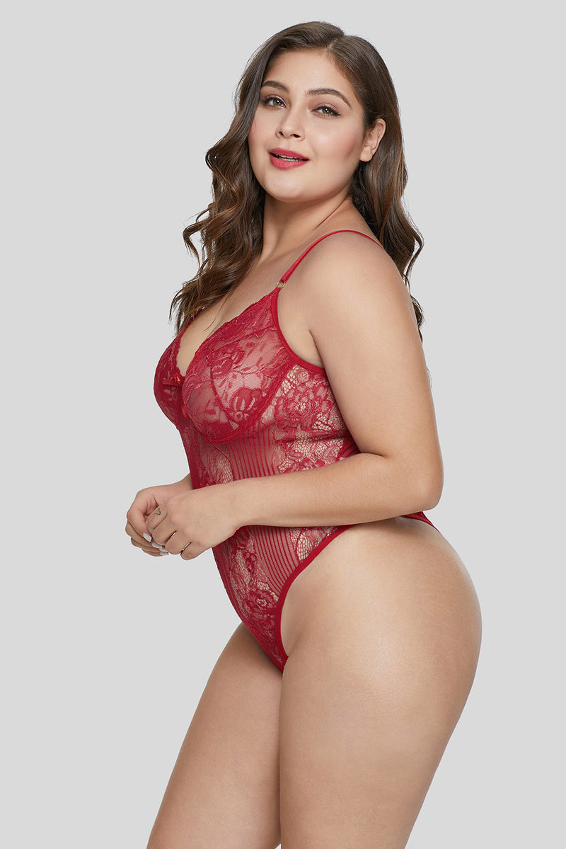 Red Sweet Floral Plus Size Teddy Lingerie LAVELIQ
