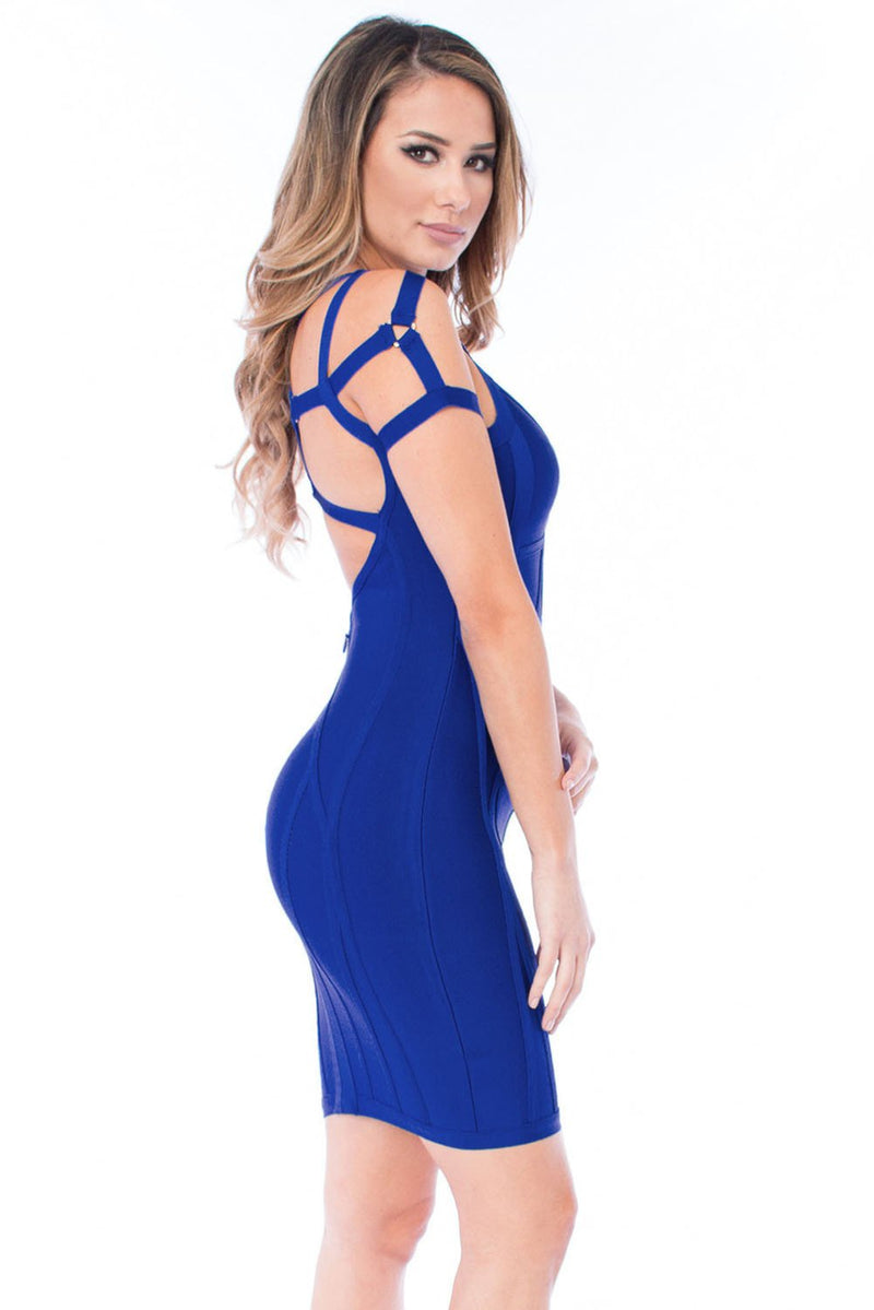 Royal Blue Strappy Bandage Dress LAVELIQ - Laveliqus