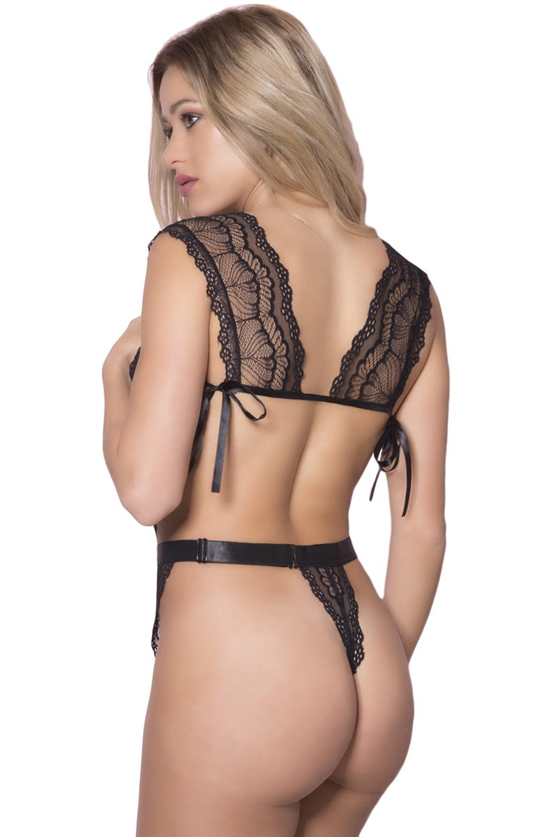 Satin Reinforced Black Sheer Lace Teddy Lingerie LAVELIQ