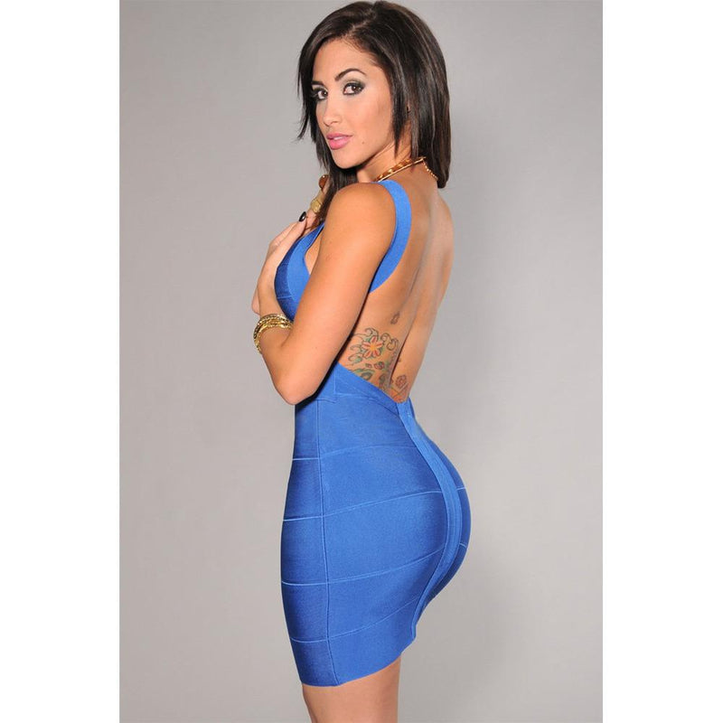 Sexy Backless Bandage Dress In Blue LAVELIQ  - LAVELIQ - 2