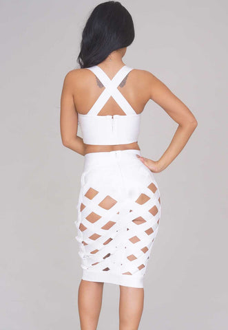 Sexy White Open Caged Bandage Skirt Set LAVELIQ