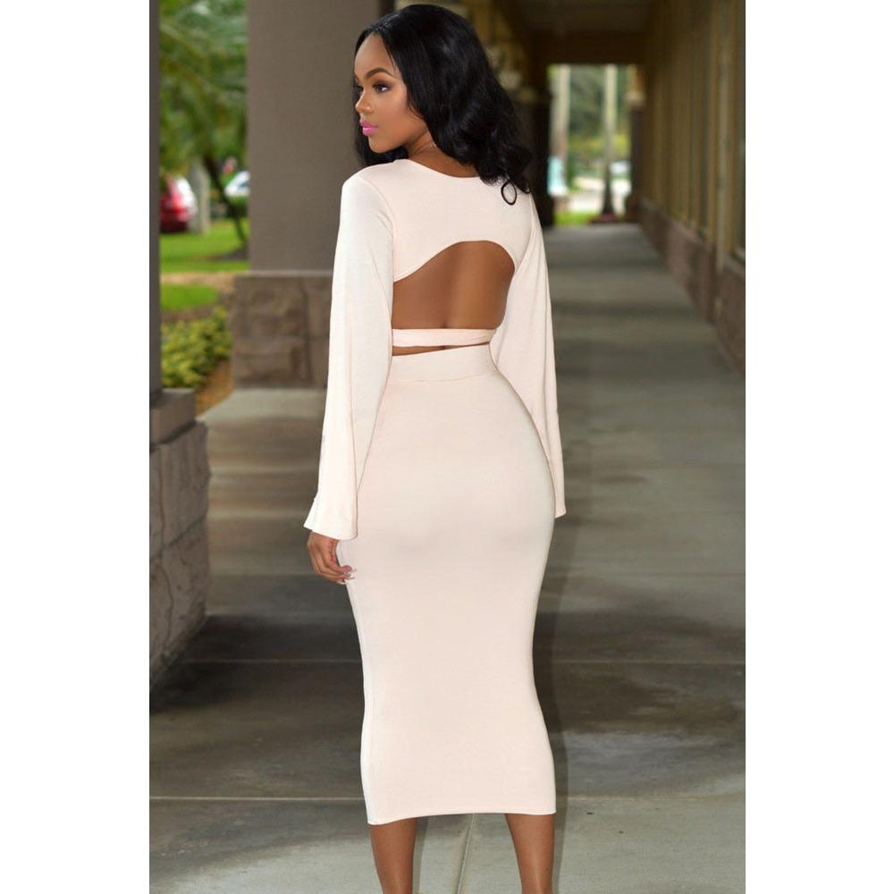 Soft Pink Bell Sleeves Two Piece Skirt Set LAVELIQ - LAVELIQ - 3