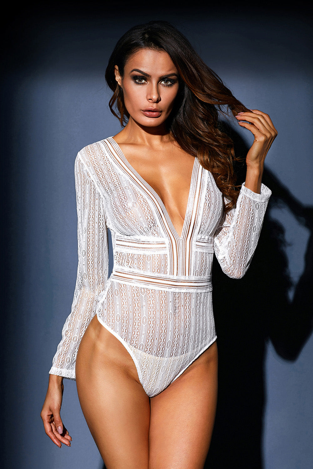 White Deep V Neck Long Sleeve Bodysuit With Open Back Lingerie LAVELIQ - Laveliqus